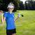 menina · jogador · de · golfe · retrato · céu · sorrir · golfe - foto stock © brunoweltmann