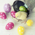 Easter chicken, eggs and decoration on white background stock photo © BrunoWeltmann