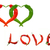 two hearts and word love composed of red and green chili peppers stock photo © bsani