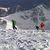 snowboarders and skier on off piste slope in sun evening stock photo © bsani