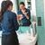 happy woman using powder make up brush bathroom stock photo © candyboxphoto