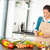 young woman cutting vegetables kitchen preparing stock photo © candyboxphoto