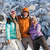 three friends enjoy snow winter holiday mountains stock photo © candyboxphoto