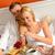 paar · eten · ontbijt · hotelkamer · man · gelukkig - stockfoto © candyboxphoto