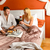 loving couple sitting bed breakfast red rose stock photo © candyboxphoto