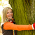 smiling teenager blonde girl embracing tree woods stock photo © candyboxphoto