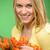 mosolygó · nő · köteg · virágok · kéz · arc · nők - stock fotó © candyboxphoto