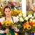młoda · kobieta · oferowanie · bukiet · słoneczniki · uśmiechnięty - zdjęcia stock © candyboxphoto