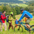 tourists hiking and riding mountain bikes summer nature stock photo © candyboxphoto