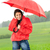 puber · meisje · regen · mantel · glimlachend · Rood - stockfoto © candyboxphoto