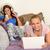 девочек · изучения · вместе · кровать · карандашом · весело - Сток-фото © candyboxphoto
