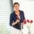 mulher · rosas · vermelhas · sala · de · jantar · esposa · romântico · vermelho - foto stock © candyboxphoto