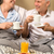 mature couple enjoying breakfast at hotel room stock photo © candyboxphoto