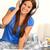 mulher · cama · usando · laptop · escuta · fones · de · ouvido · sorrindo - foto stock © candyboxphoto