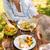 aposentados · casal · alimentação · potável · ao · ar · livre · sorridente - foto stock © CandyboxPhoto
