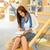 middelbare · school · bibliotheek · student · vrouw · lezen · boek - stockfoto © candyboxphoto