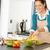 nő · készít · saláta · konyha · mosolyog · nevet - stock fotó © candyboxphoto