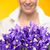 purple spring iris flowers woman in background stock photo © candyboxphoto