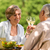 feliz · óculos · jardim · comida · casal - foto stock © CandyboxPhoto