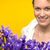 smiling woman with spring purple iris stock photo © candyboxphoto