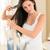 gelukkig · vrouw · haren · kam · badkamer · schoonheid - stockfoto © candyboxphoto