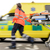 running blurry paramedic woman pulling gurney stock photo © candyboxphoto