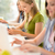 gülen · öğrenci · oturma · sınıf · arkadaşı · tablet - stok fotoğraf © candyboxphoto