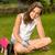 hermosa · niña · sesión · hierba · gafas · de · sol · mujer · belleza - foto stock © candyboxphoto