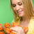 woman looking down spring flowers orange tulips stock photo © candyboxphoto