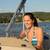 cheerful woman navigating powerboat in summer stock photo © candyboxphoto