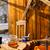 ontbijt · houten · tafel · buiten · winter · sneeuw · huisje - stockfoto © candyboxphoto