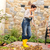 mulher · jovem · secar · folhas · quintal · trabalhos · domésticos - foto stock © candyboxphoto