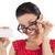 glimlachende · vrouw · naar · tonen · kaart · Rood · bril - stockfoto © carlodapino