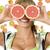 mulher · toranja · isolado · branco · comida · cara - foto stock © carlodapino