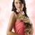 美しい · 小さな · 女性 · 着用 · 赤いバラ · ドレス - ストックフォト © carlodapino