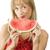 görögdinnye · aranyos · szőke · lány · vörös · ruha · piros · ajkak - stock fotó © carlodapino