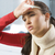 mirando · enfermos · retrato · jóvenes · morena · rojo - foto stock © carlodapino