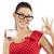 mooie · vrouw · tonen · jonge · cute · vrouw · rode · jurk - stockfoto © carlodapino