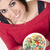 happy attractive woman eats bowl colorful breakfast cereal stock photo © cboswell