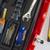 caja · de · herramientas · limpio · plástico · aislado · blanco - foto stock © cboswell