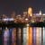 dark night ohio river cincinnati downtown city skyline stock photo © cboswell