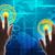 handen · Blauw · holografische · scherm · aanraken · wereldkaart - stockfoto © cherezoff