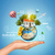 hand holds earth with house air balloons airplane and virtual elements near globe stock photo © cherezoff