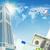 avião · arranha-céus · dinheiro · negócio · edifício · fundo - foto stock © cherezoff