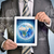 man hands using tablet pc image of earth and network on screen stock photo © cherezoff