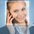 persoon · identificatie · vrouw · telefoon · lachend · gezicht · lijnen - stockfoto © cherezoff