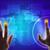 Blauw · holografische · scherm · kaart · handen · wereldkaart - stockfoto © cherezoff