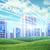 stadsgezicht · blauwe · hemel · wolken · zonnestraal · bomen - stockfoto © cherezoff