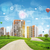 buildings green hills road and sky with virtual elements stock photo © cherezoff