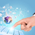 hand · aanraken · toetsenbord · abstract · Blauw · wereldkaart - stockfoto © cherezoff
